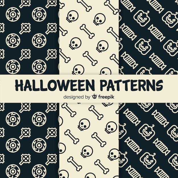 Design plat de collection de modèles d'halloween Vecteur gratuit