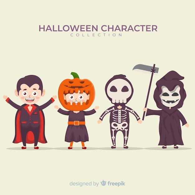 Design plat de la collection de personnages d'halloween Vecteur gratuit