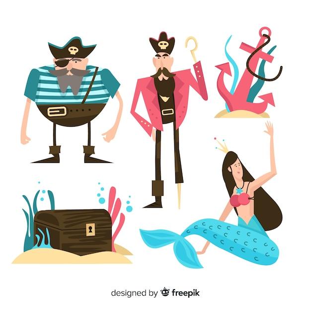 Design plat de la collection de personnages de la vie marine Vecteur gratuit