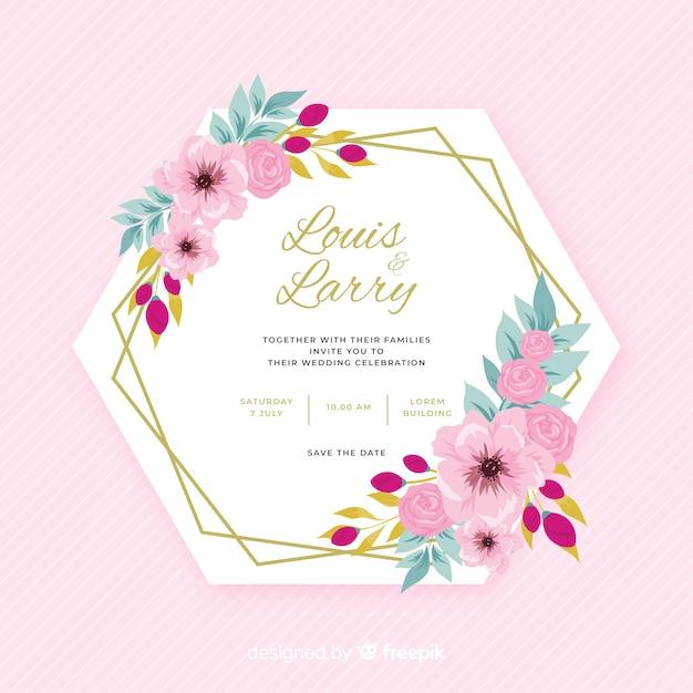 Design plat coloré d'invitation de mariage cadre floral Vecteur gratuit