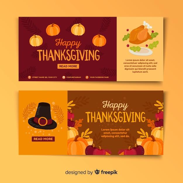 Design Plat Coloré Pour Les Bannières De Thanksgiving Vecteur gratuit