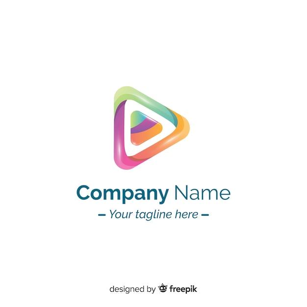 Design plat dégradé logo abstrait Vecteur gratuit