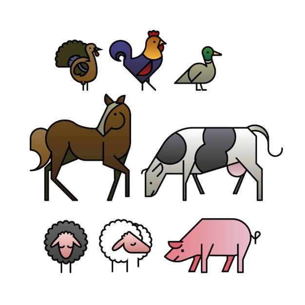 Design plat des animaux de ferme Vecteur gratuit
