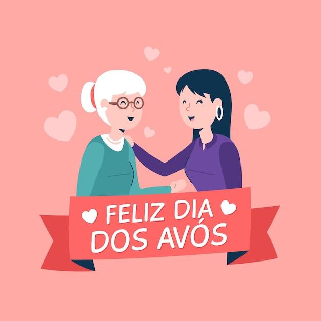 Design Plat Dia Dos Avós Illustration Avec Mère Et Fille Vecteur gratuit