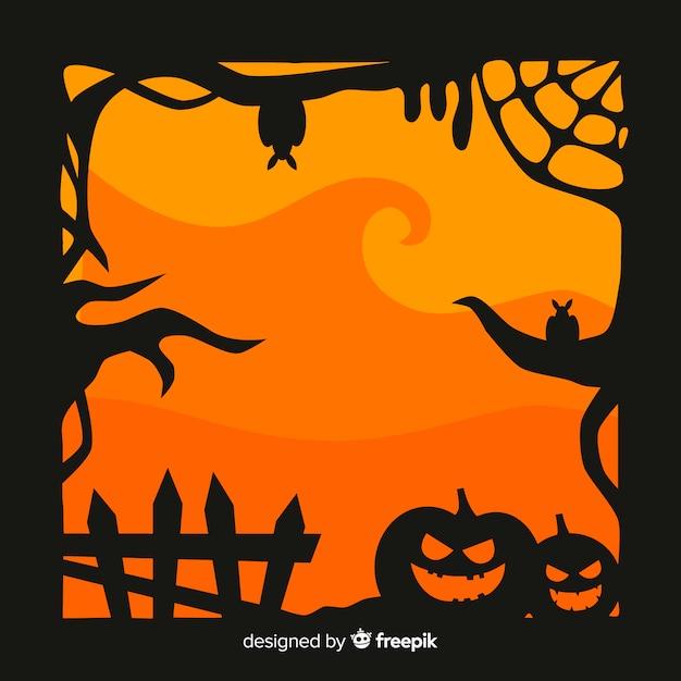Design Plat Du Cadre D'halloween Vecteur gratuit