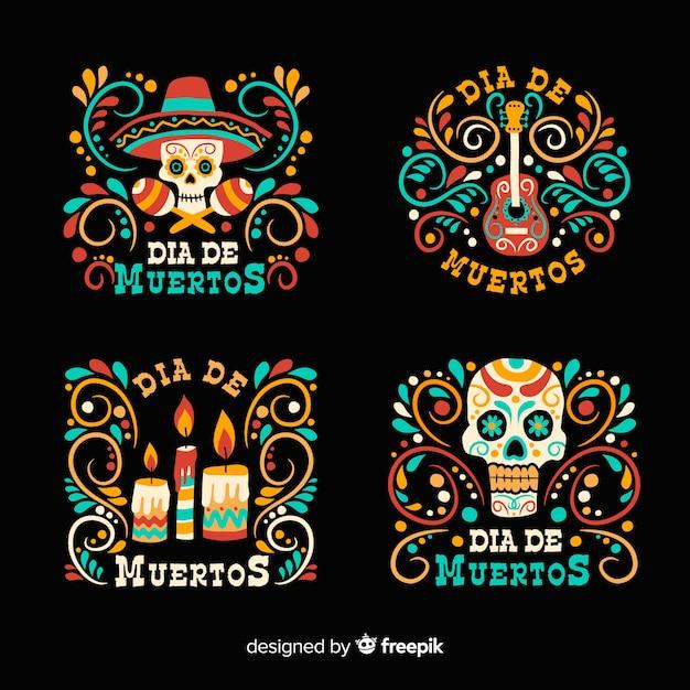 Design plat du jour du badge mort Vecteur gratuit