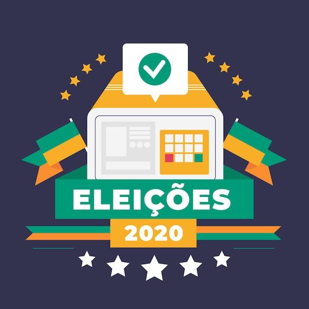 Design Plat Eleições 2020 Fond Vecteur gratuit