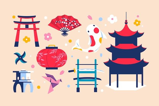 Design Plat D'éléments De Cullture Japonais Vecteur gratuit