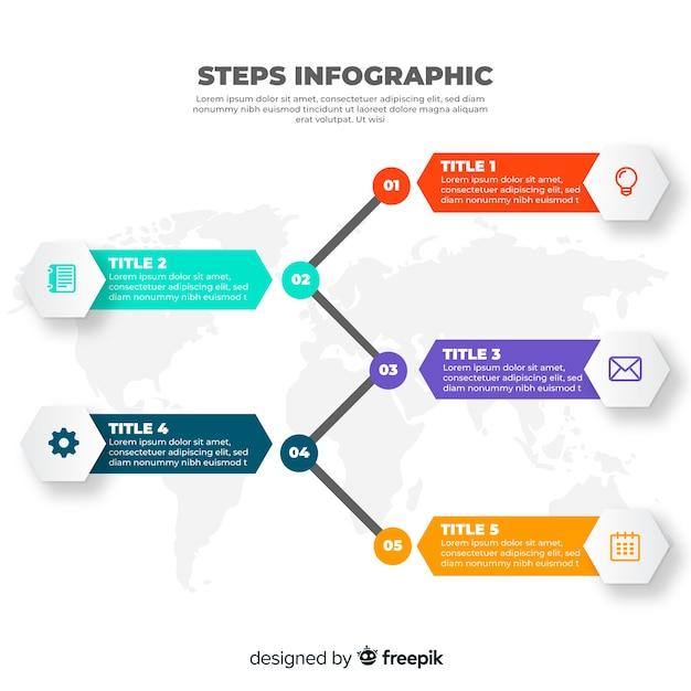Design plat étapes colorées infographie Vecteur gratuit