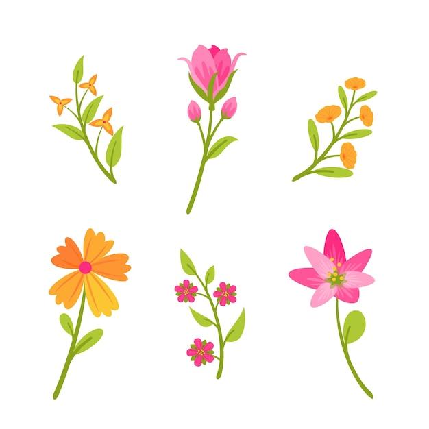 Design Plat Fleurs Orange Et Roses Vecteur gratuit