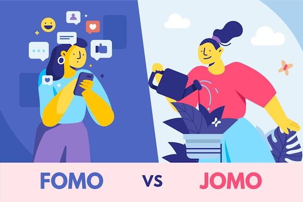 Design Plat Fomo Vs Jomo Vecteur gratuit