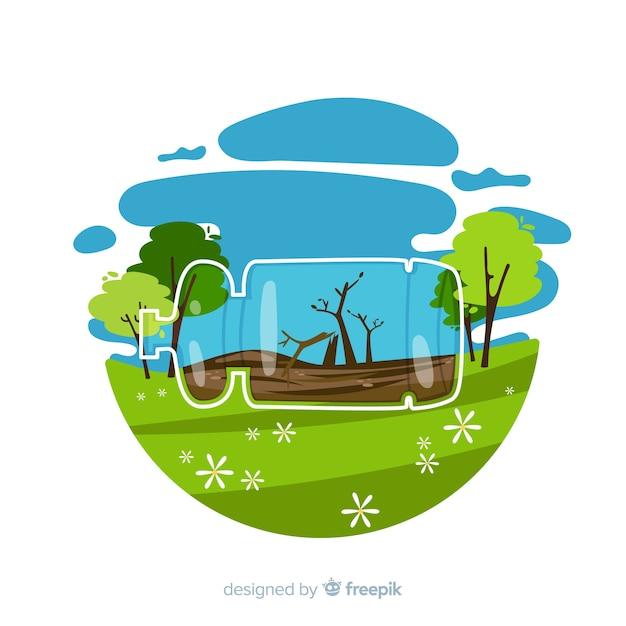Design plat fond concept écologie Vecteur gratuit