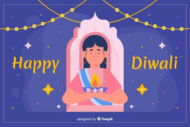 Design plat de fond de diwali avec une femme Vecteur gratuit
