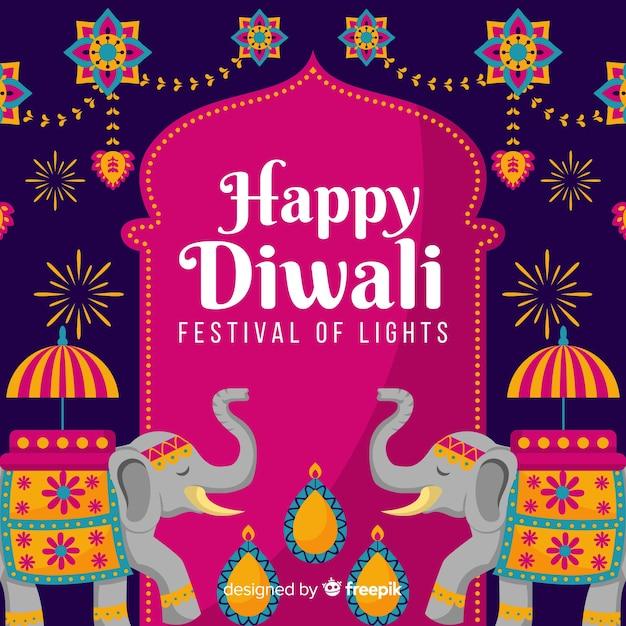 Design Plat De Fond De Diwali Vecteur Premium