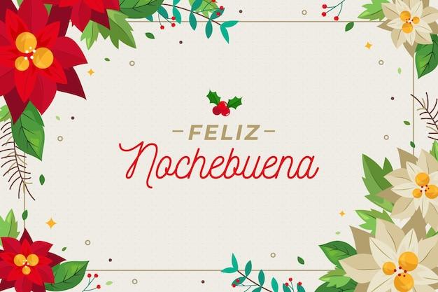 Design Plat Fond Feliz Nochebuena Avec Des Fleurs Vecteur Premium