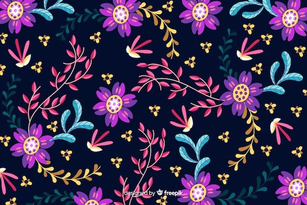 Design plat avec fond floral Vecteur gratuit