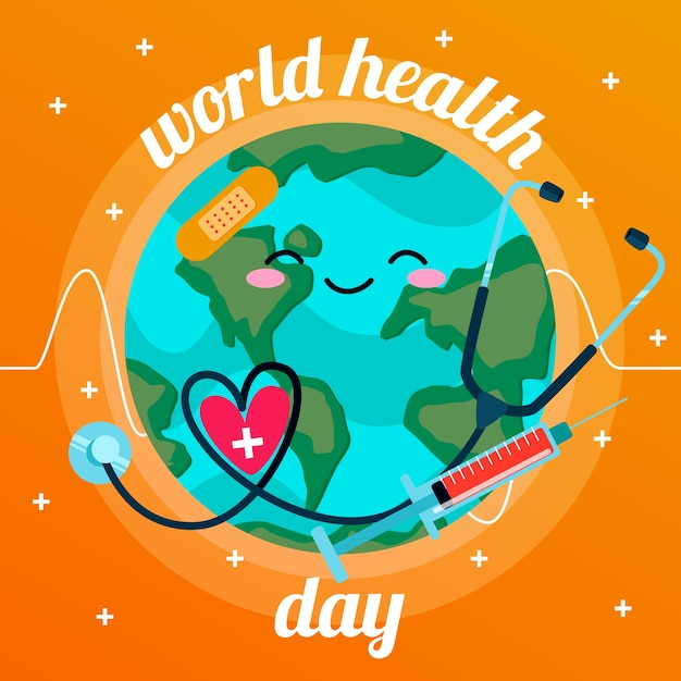 Design Plat Fond De La Journée Mondiale De La Santé Vecteur gratuit