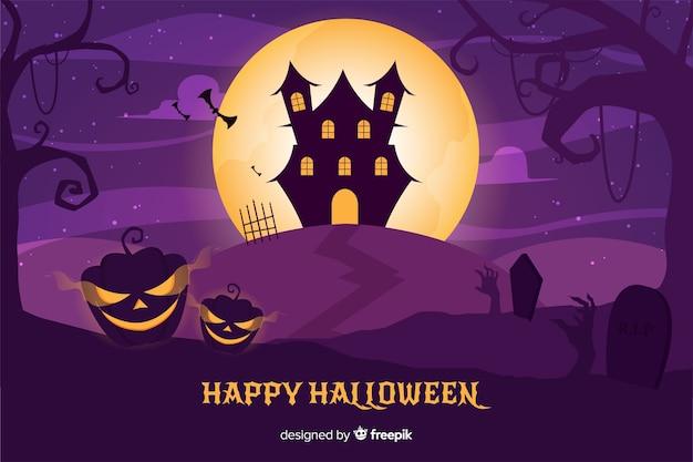 Design plat de fond de maison hantée d'halloween Vecteur gratuit
