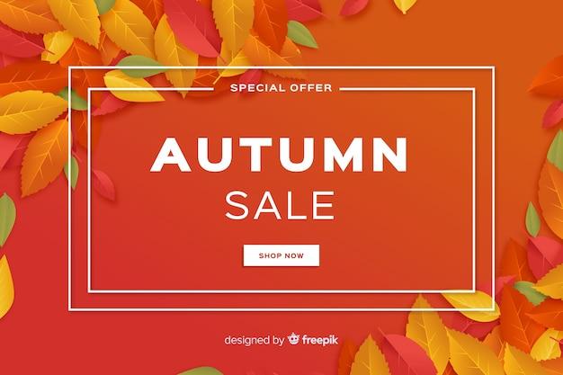 Design plat de fond de vente automne Vecteur gratuit