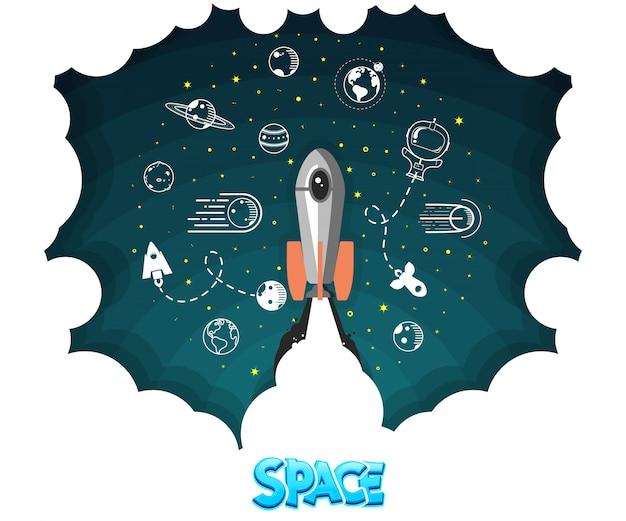 Design plat fusée concept espace Vecteur Premium
