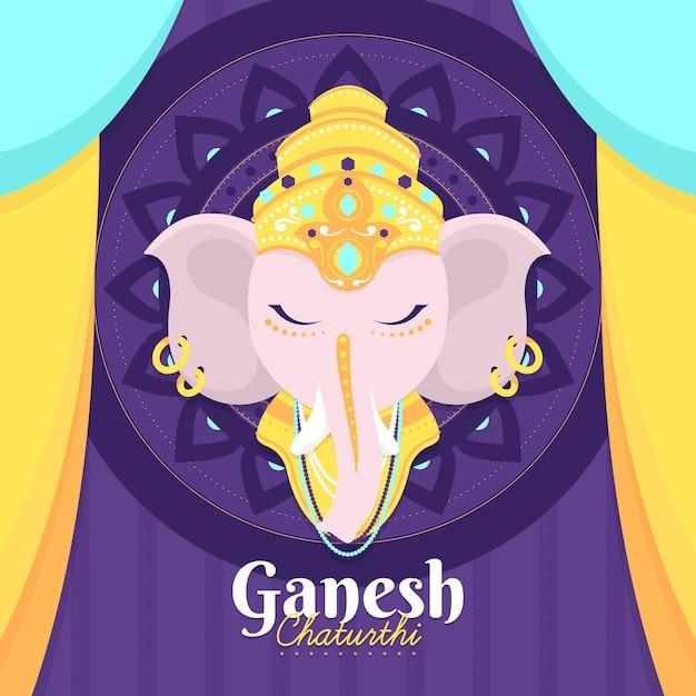 Design Plat Ganesh Chaturthi Illustré Vecteur gratuit