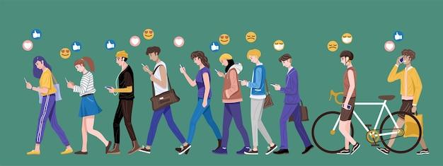 Design Plat, Groupe De Jeunes Utilisant Des Smartphones Envoyant Et Recevant Des Emojis. Vecteur Premium