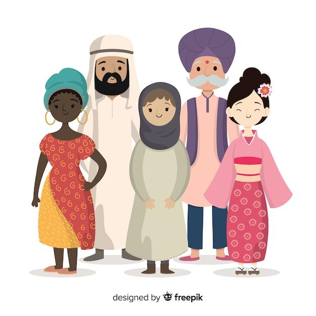 Design plat de groupe multiracial de personnes Vecteur gratuit