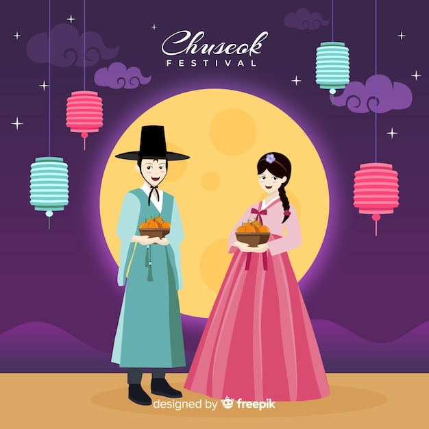 Design plat de hanbok traditionnel chuseok Vecteur gratuit
