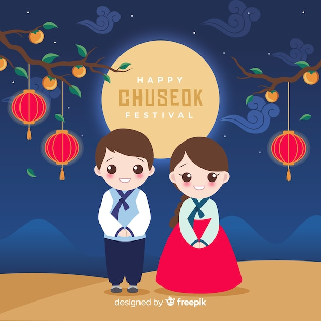 Design Plat De Hanbok Traditionnel Chuseok Vecteur Premium
