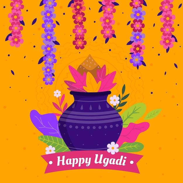 Design Plat Happy Ugadi Day Design Vecteur gratuit