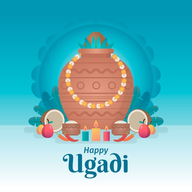 Design Plat Heureux événement Ugadi Vecteur gratuit