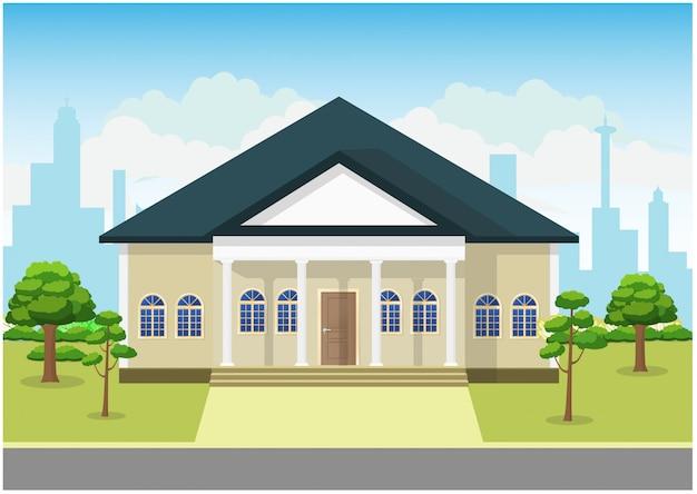 Design Plat D'illustration De Concept De Maison De Paysage Vecteur Premium