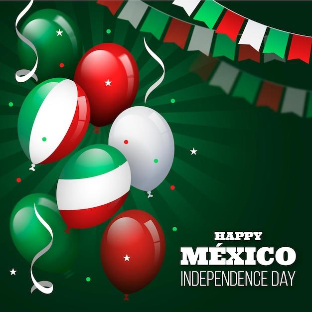 Design Plat Independencia De Mexico Fond De Ballon Vecteur gratuit