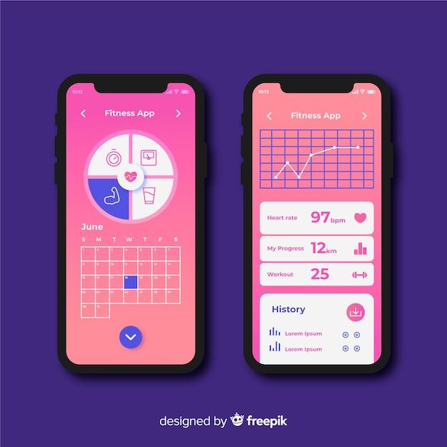 Design plat infographie application mobile de remise en forme Vecteur gratuit
