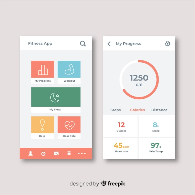 Design plat infographie application mobile de remise en forme Vecteur gratuit