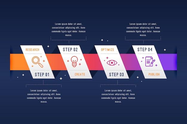 Design Plat Infographie étapes Design Vecteur gratuit