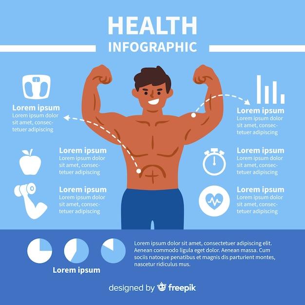 Design plat infographie santé bleue Vecteur gratuit
