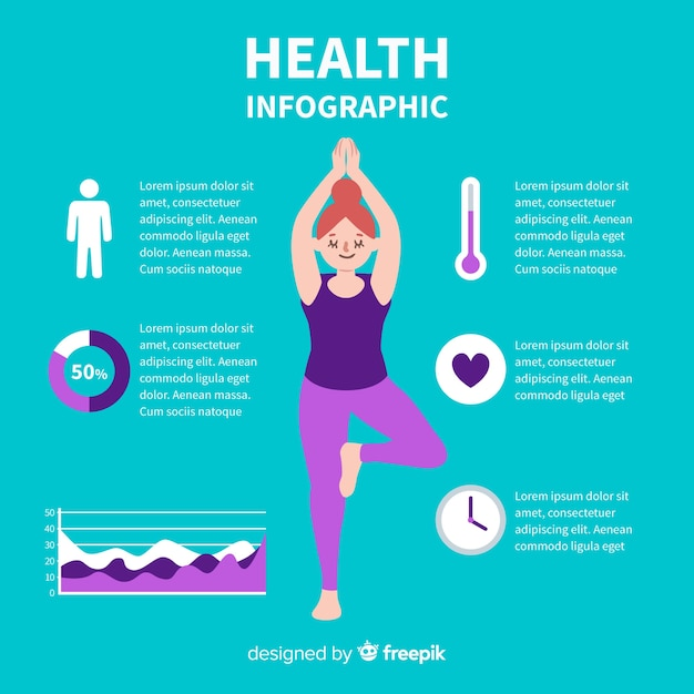 Design plat infographie santé verte Vecteur gratuit