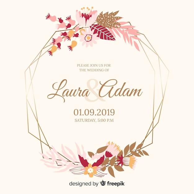 Design plat d'invitation de mariage cadre floral Vecteur gratuit