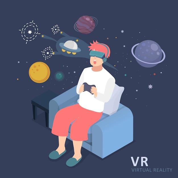 Design Plat Isométrique 3d Expérience De Réalité Virtuelle De L'univers Vecteur Premium