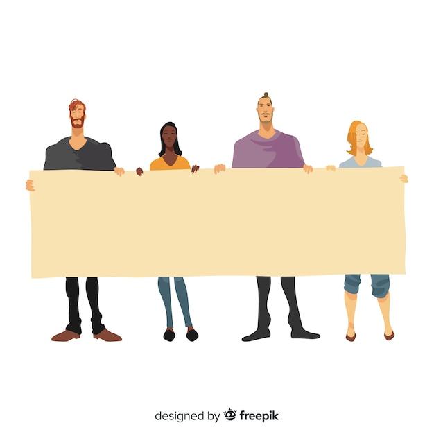 Design plat de jeunes tenant une bannière vierge Vecteur gratuit