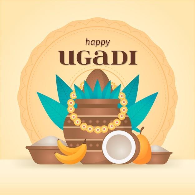 Design Plat Joyeux Ougadi Célébration Vecteur gratuit