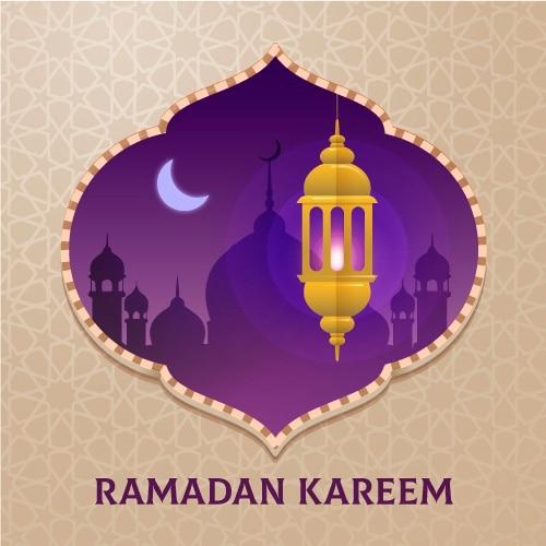 Design Plat Joyeux Ramadan Kareem Lune Et Bougie Vecteur gratuit