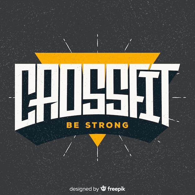Design plat de logo de motivation crossfit Vecteur gratuit