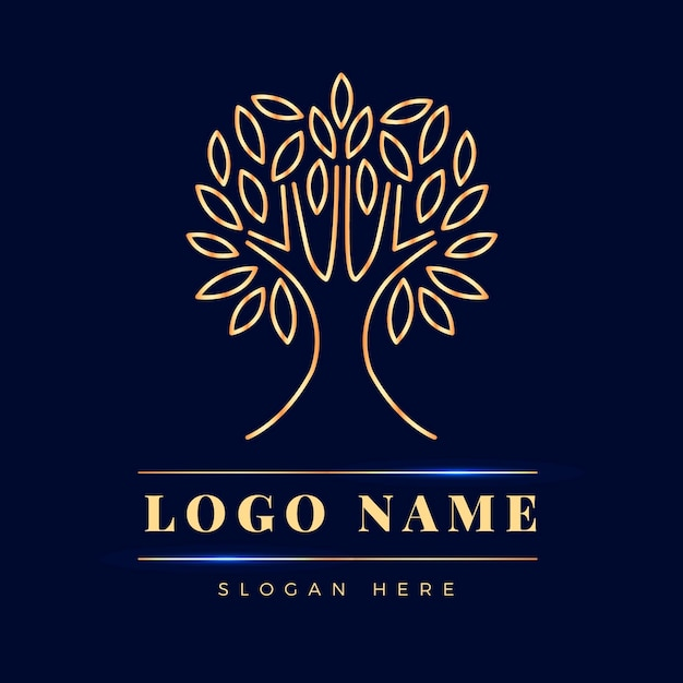 Design Plat De Logo De Vie D'arbre Vecteur Premium
