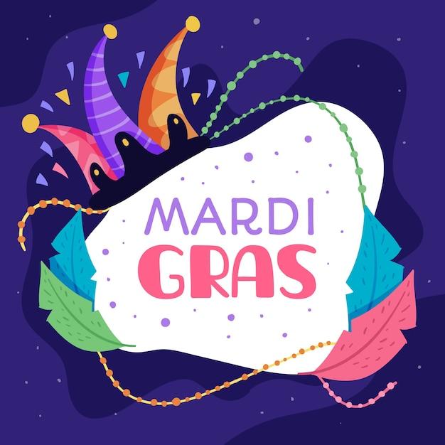 Design Plat De Mardi Gras Avec Des Feuilles Colorées Abstraites Vecteur gratuit