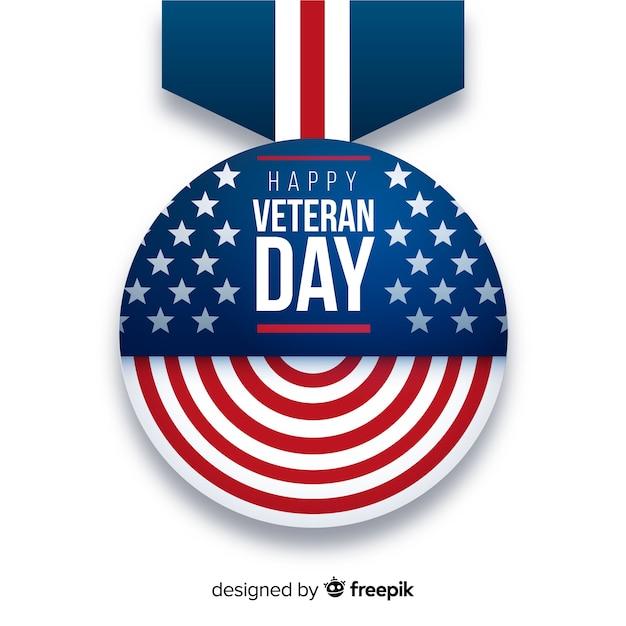 Design plat de la médaille pour le jour des anciens combattants Vecteur gratuit