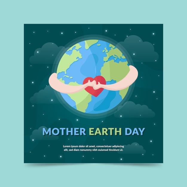 Design Plat Mère Terre Jour Bannière Ciel Nocturne Vecteur gratuit