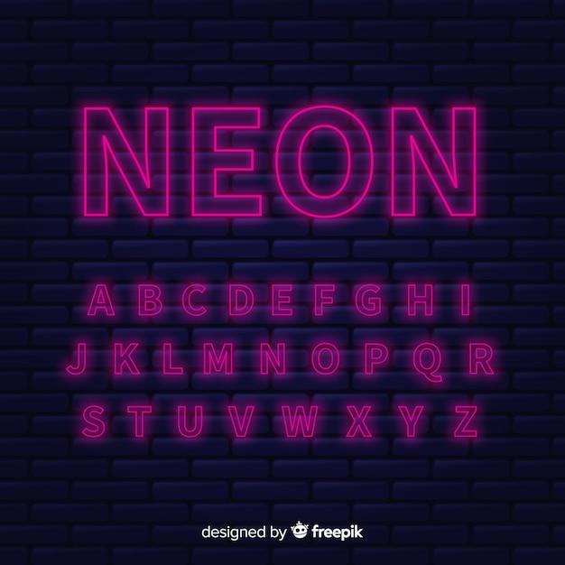 Design plat de modèle alphabet néon Vecteur gratuit