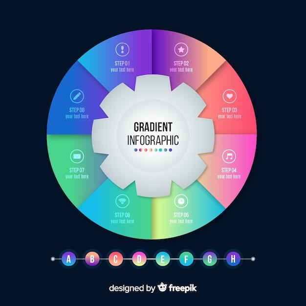 Design plat modèle dégradé infographique Vecteur gratuit